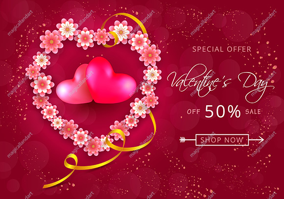 Valentines day sale background with realistic 3d hearts and golden ribbon. Cute love day sale banner template. Valentines heart