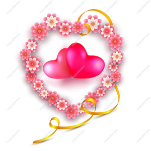 Vector illustration of Valentines day love heart from paper flowers with red and pink 3d realistic hearts inside, isolated on white background