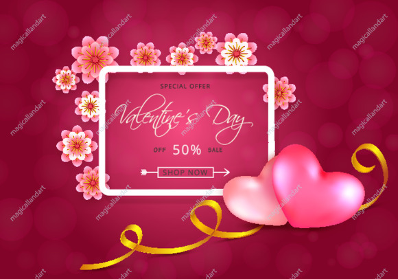 Valentines day sale banner design with 2 red hearts on pink background with pattern, golden ribbon, white border frame and paper flowers
