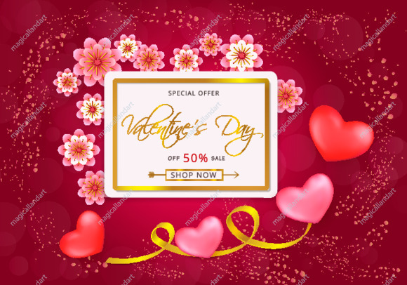 Valentines day sale background design with red hearts, pattern and golden stripes, gold frame, pink paper cut flowers