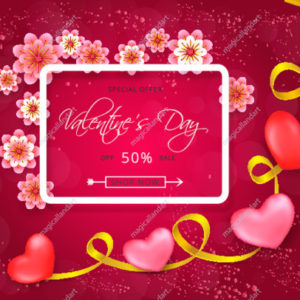 Vector illustration of Valentines day sale background with red hearts, text, square white frame, golden ribbon and pink paper flowers