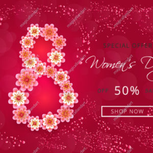 Womens day sale banner design with paper-cut flowers on pink background
