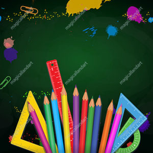 Back to school banner template with colorful school supplies like pencils, measure rulers, protractors on green chalkboard background