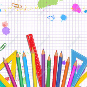 Back to school poster design with realistic school supplies on white background with grid pattern. Banner template design with frame. Copy space