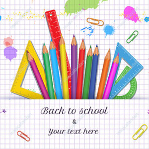Creative Back to School concept with doodle kids and school supplies on white background with grid pattern