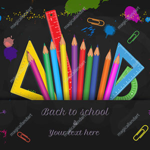 Back to school design with school supplies and hand drawn doodle kids on black chalkboard background. Template design for online store promotion