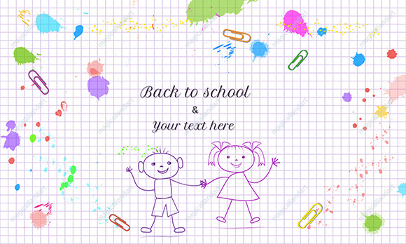 Concept of Back to School banner with hand drawn doodle kids, boy and girl on white background with grid pattern and colorful paint splashes.