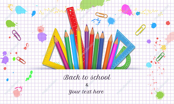 Back to School with realistic school supplies isolated on white background with grid pattern, paint splashes and splatter. Vector banner design