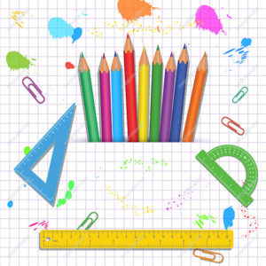 Back to school concept with colorful school supplies like: pencils, measure rulers, protractors on white background with grid pattern and paint splashes