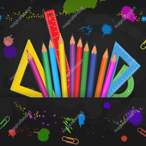 Set of colorful school supplies isolated on black board background with paint splashes. Back to school banner design concept