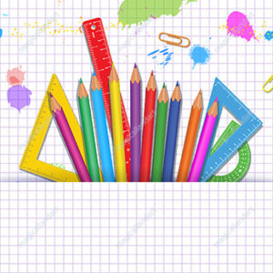 Back to School background with colorful school supplies, grid paper pattern and paint splashes. Template design for banner, poster, flyer, online store promotion. Place for text