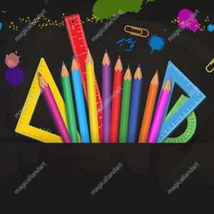 Back to School concept on black blackboard background with colorful school supplies. Template design for banner, poster, flyer. Place for text