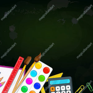 Back to school education concept. Colorful school supplies like pencils, paint brushes, color palette, scissors, ruler on green blackboard background. Place for text