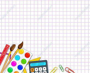 Back to school background, with grid paper pattern and realistic school supplies. Template design for banner, poster, advertising, online store promotion