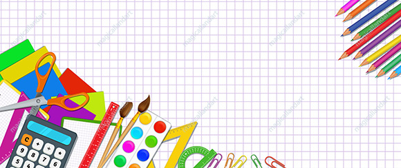 Back to school poster design with school supplies on white background with grid pattern. Banner template for online store promotion