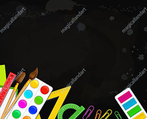 Back to school education concept. Realistic colorful school supplies over black board background. Place for text