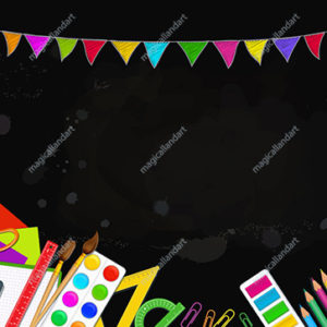 Concept of back to school design with 3d realistic school supplies over black board background. Party pennants garland. Place for text