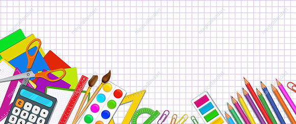 Back to school banner concept with realistic school supplies, elementary school items on white background with grid pattern. Template design for online store promotion