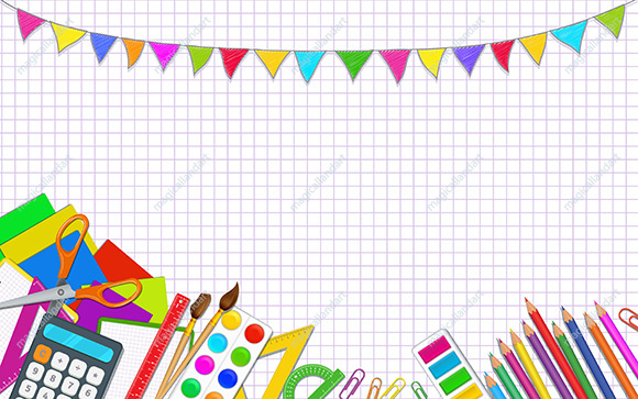 Back to school white background with realistic school supplies and elementary school items. Party pennants garland. Template design for online store promotion