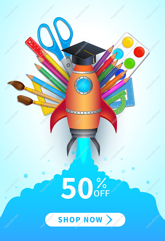 Back to school sale banner with colorful realistic school supplies, rocket launch, flat design