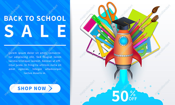Back to school sale. Horizontal discount web banner with 50 percent off on school supplies. Template design for educational items promotion, online shopping