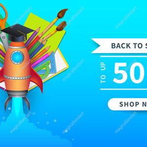 Back to school sale poster with colorful school supplies. Educational items and elements for online store discount promotion. Template design for web banner, advertising