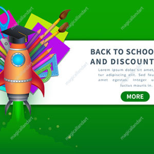 Concept of back to school sale banner with school supplies like pencils, paint brushes, color paper, palette, ruler and scissors for online store discount promotion
