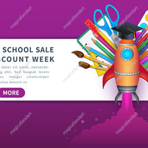 Vector concept of back to school, discount week with colorful school supplies, horizontal sale banner design with educational items for online store promotion
