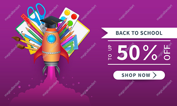 Back to school discount sale banner with colorful school supplies.