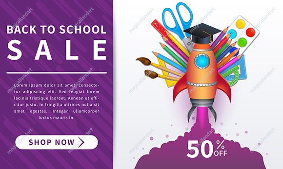 Back to school sale banner. Educational design concept with 3d realistic school supplies. Template design for poster, marketing, discount promotion, online shopping