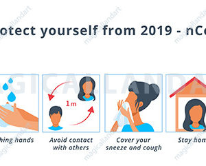 Coronavirus COVID-19 prevention infographics with icon set. Corona virus protection tips. Healthcare and medicine concept. Cover your sneeze, wash hands, stay home, wear face mask