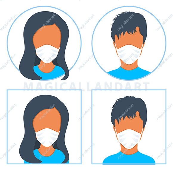 People in medical face protection mask in prevention for coronavirus. Man and Woman wearing protective surgical mask for prevent virus, disease, flu, air pollution. Vector icon set