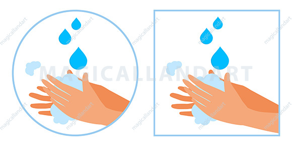 Vector illustration of washing hands with antibacterial soap. Personal hygiene to stop spreading coronavirus. Wash your hands to prevent spread of infections, germs and corona virus.