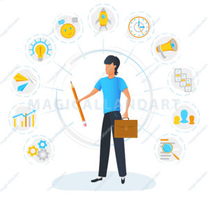 Businessman is standing and holding briefcase surrounded by office task icons. Multitasking, productivity optimization and time management