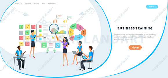 Vector flat illustration, business meeting, online training courses, professional skill development, training of office staff