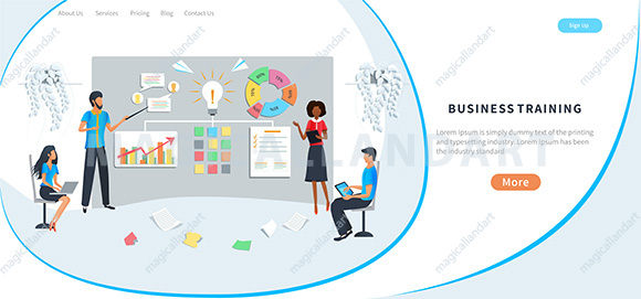 Professional business training, meeting, workshop, training of office staff, increase skills. Team brainstorming and use post notes to share idea.