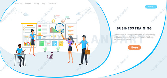 Vector illustration - business training or courses, increase professional skills, training of office staff - Team project planning and brainstorming