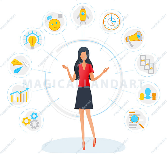 Businesswoman is standing surrounded by office task icons. Business multitasking concept. Project and time management, productivity optimization