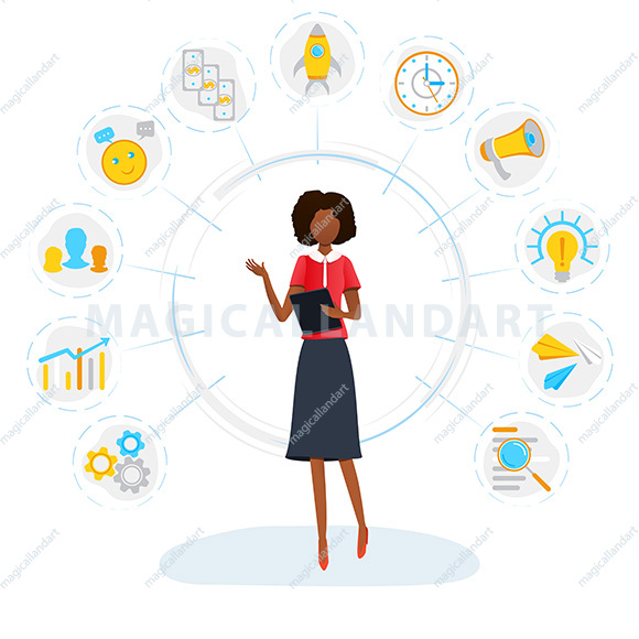 Vector illustration of businessman doing multitasking work on tablet. Project planning activities. Freelance worker busy with multitasking