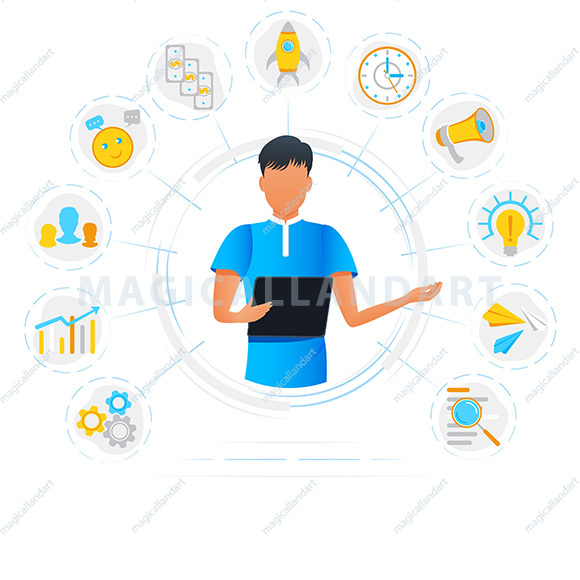 Vector illustration of black businesswoman and multitasking concept. Business woman is standing among office icons. Project task management