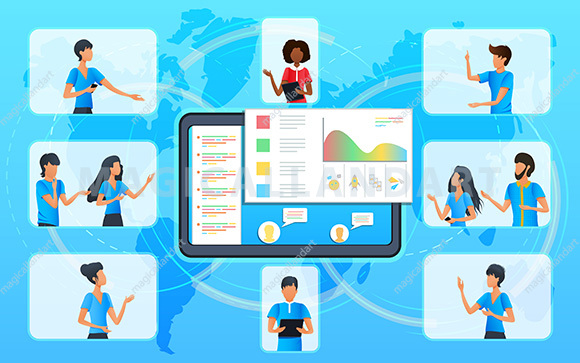 Business people at a video conference, group of colleagues having project discussion in video call, online meeting with manager, professional conference