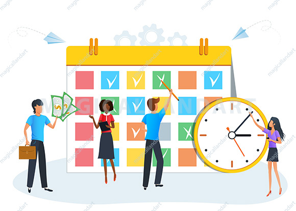 Vector illustration, business people planning schedule, businessman is planning his work, tasks scheduling, reminder and timetable
