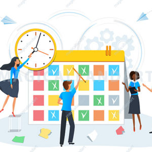 Busy business people planning a meeting with calendar. Colleagues planning events, tasks and appointments using schedule plans. Tasks scheduling