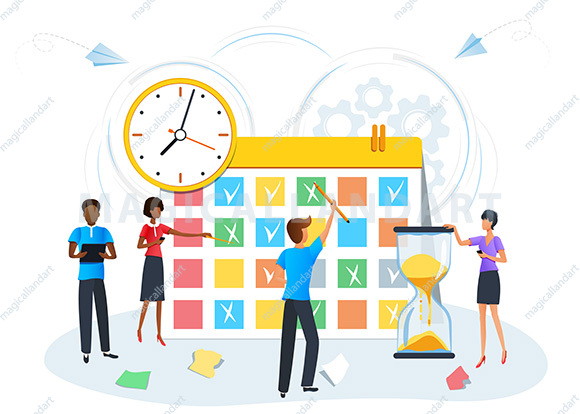 vector illustration, planning schedule calendar reminder, organize daily routine, business people meeting, effective time management