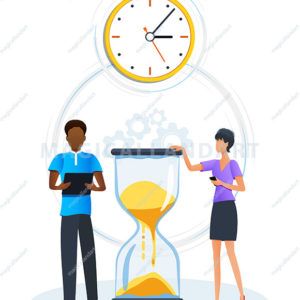 Concept of efficiency work time management hourglass. Deadline. Office managers time planning, organization and control to boost productivity