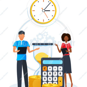 Concept of efficiency time management. Business people doing workflow organization and optimization of work time for effective productivity