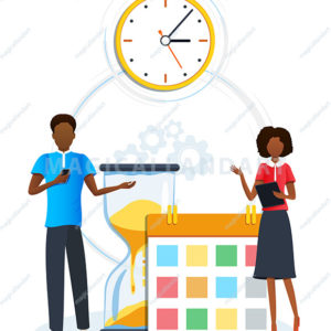 Concept of time management. Business people planning schedule using calendar. Work time organization and optimization