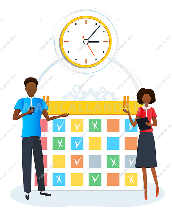 Vector concept of time management, tasks planning, scheduling and organization of working process for effective productivity. Job schedule optimization