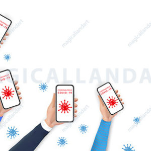 Social distancing and prevention COVID-19 spreading by using mobile phone. Realistic hands holding smartphone with coronavirus icons on screen. Stop coronavirus 2019-nCoV