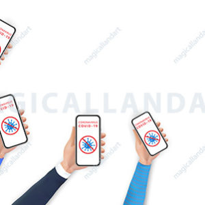 Stop coronavirus 2019-nCoV concept. Hands holding smartphone with coronavirus icon and red prohibit sign on screen. Social distancing by using mobile phone.